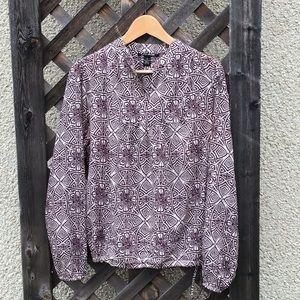 Lucky Brand blouse burgundy & cream flower design
